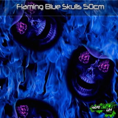 Flaming Blue Skulls Hydrographics Film