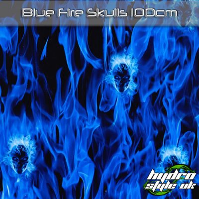 blue fire skulls hydrographics film